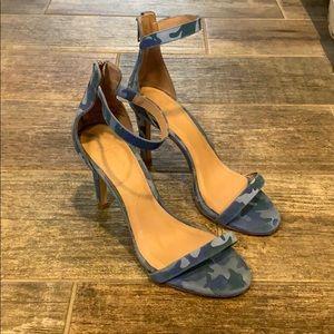 Joie Blue Camo Abbott Leather ZipBack Heel Sandals